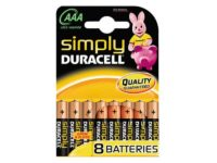 Pack de 8 piles Duracell Simply MN2400/LR03 Micro AAA85061011