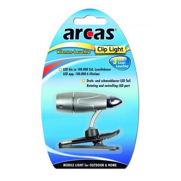 Lampe de lecture 3 LED avec pince Arcas85131000