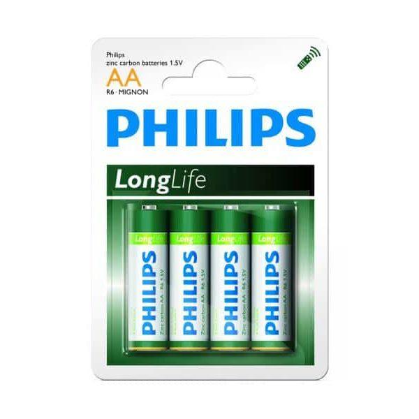 Pack de 4 piles Philips Longlife R06 Mignon AA85068080