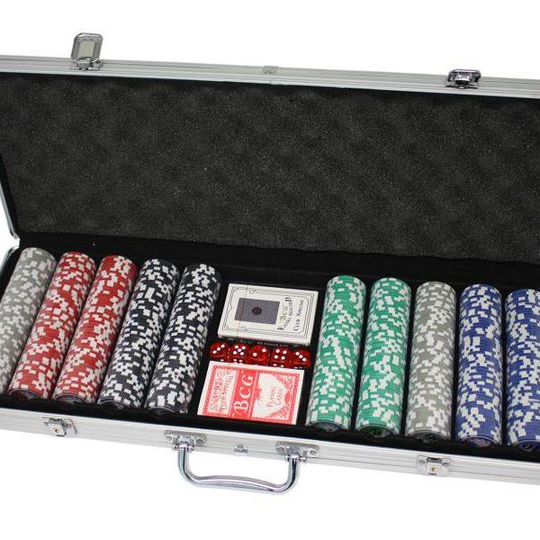 Malette de poker en alu + 500 jetons (Jetons non marqués