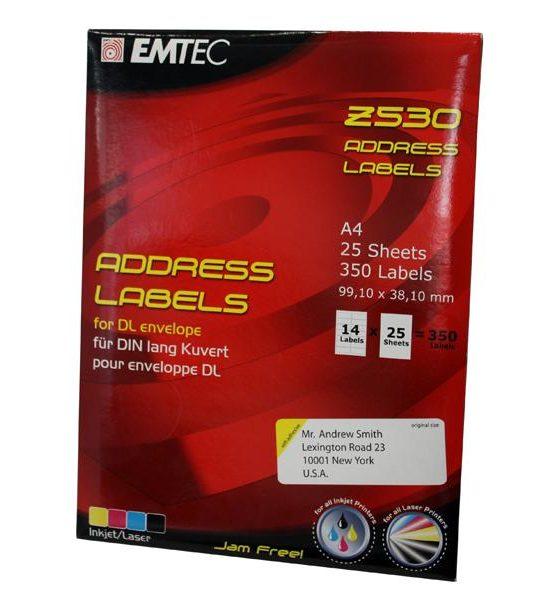 350 étiquettes d´adresse EMTEC (25 feuilles x 14 étiquettes)39191012