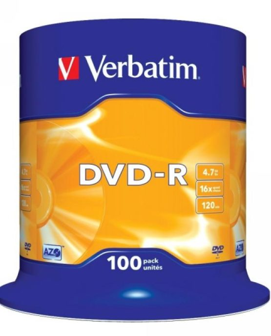 DVD-R 4.7GB Verbatim 16x 100er Cakebox 43549